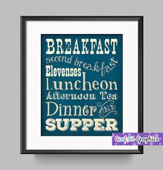 The Hobbit Diet Lord of the Rings Teal Blue Vintage Inspired Meal Schedule Tolkien Quote Typography Wall Art / Kitchen Decor Man Cave Office