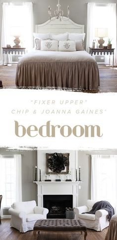 """Fixer Upper"" Chip and @joannagaines_' bedroom is perfection. We love how chic and elegant it looks with the mix of neutral colors."