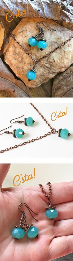 Aqua Blue Chalcedony Necklace & Earrings by C'sta!