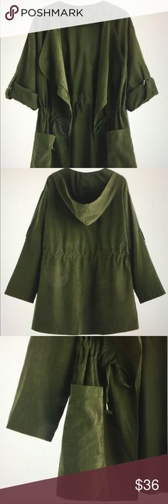 """Drawstring lightweight coat jacket. Size LNEW Universal casual khaki jacket great for spring summer and fall. Featuring drawstring waist and is hooded.  polyester measurements are 21 3-4"""" sleeves, 45 1/8"""" around bust area and 20 1/2"""" L.  Size L - size fits loose on medium structure. Soft material, lightweight, no liner. No negotiation on price selling for what I paid. Jackets & Coats Utility Jackets"""