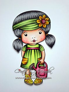 Marci is colored with Copics: Skin: E13, E11, E00, E000 + RV21 Hair: 100, N9, N7, N5, N3 Outfit: G99, G95, G24, G21, YG00 R89, R85, R83, R81 E15, Y19, Y15, Y13