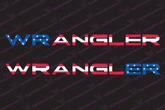 "Jeep Wrangler USA Flag Hood Decal Kit (TJ Style Letting) for your Jeep Wangler (all years) Includes: - Left and Right Hood Decals 24"" x 1.8"" Precision cut and gloss laminated for scratch resistance an"