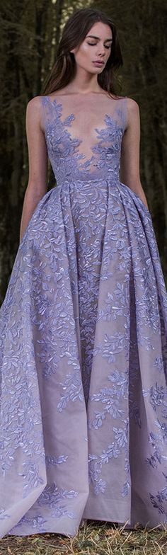 Paolo Sebastian 2016/17 Autumn Winter - Gilded Wings. #purple #lilac #dress