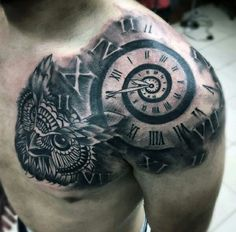 Shoulder clock tattoo
