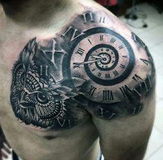 Shoulder clock tattoo
