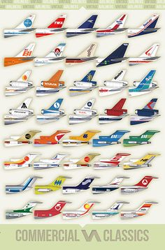 """This awesome poster shows the tails of 40 Airliners from the past. Brand New mint condition. Measures 11"""" x 17"""" Inches.  BUY TWO, GET ONE FREE! (update cart with 2 posters, we'll send 3 posters)"""