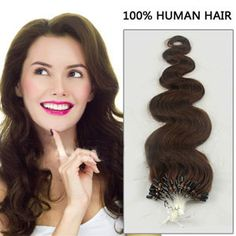 26 Inch 100s Super Micro Loop Remy Human Hair Extensions Body Wave #4 Chocolate Brown