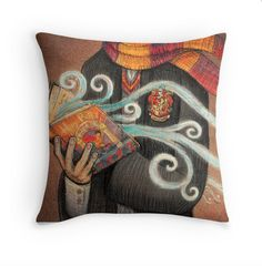 HARRY POTTER GIFT IDEA: This throw pillow, for witches who love to read Harry Potter books.