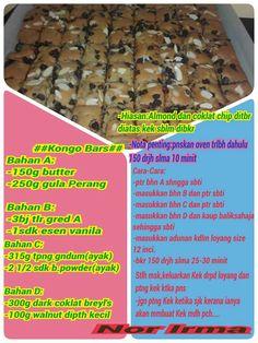 Kongo bars Cake Brownies, Brownie Cake, Resepi Brownies, Chocolate Chip Cookies, Chocolate Cake, Congo Bars, Resep Cake, Malay Food, Biscuit Recipe