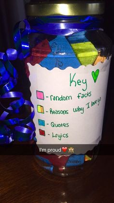 Bestfriend homemade birthday jar present, filled with colored post it notes!! (Lyrics spelled wrong as an inside joke)❤️ Are you looking for original ideas for a gift for boyfriend and you can't make a worthy choice? Try this list of best gift ideas which was created by a bunch of geeks who partake in way too much online window shopping.  boyfriend gifts | boyfriend gifts birthday | boyfriend gifts just because | gift for boyfriend | gift for boyfriend long distance
