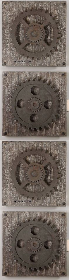 Wall Sculptures 166729: Set 2 Large Rustic Industrial Loft Decor Wood And Metal Wall Art Plaque Farmhouse -> BUY IT NOW ONLY: $173.8 on eBay!