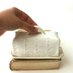French Country Butter Dish - Covered With Handle - Creamy White - Dinnerware. $36.50, via Etsy.