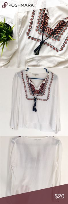 Selling this Daniel Rainn Embroidered Split Neck Top on Poshmark! My username is: amyyarmak. #shopmycloset #poshmark #fashion #shopping #style #forsale #Daniel Rainn #Tops