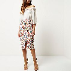​Woven Cream floral print Pencil fit Belt loops