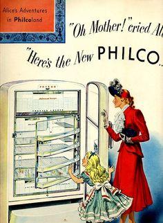vintage refrigerator kitchen 1950 advertisement by FrenchFrouFrou
