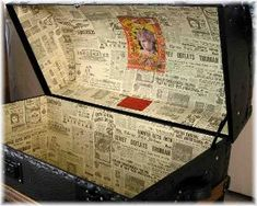 love this wallpaper of old newspaper to put in the shelf liner inside the trunk Trunk Redo, Trunk Makeover, Furniture Makeover, Diy Furniture, Old Trunks, Vintage Trunks, Trunks And Chests, Antique Trunks, Vintage Suitcases