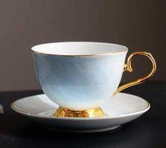 Tea Cup Saucer, Cup Of Tea, Tea Pot Set, Cup And Saucer Set, 1 Cup, Marble Mugs, Blue Drinks, Cafetiere, How To Make Tea