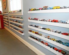 If you want a feature on your kids wall, and they love toy cars, why not try this idea...FUN!