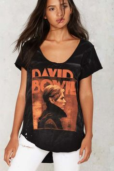 David Bowie Distressed Tee - Tops