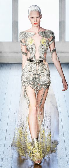 Julien Macdonald | Summer 2012 | silver and yellow on top of sheer gown