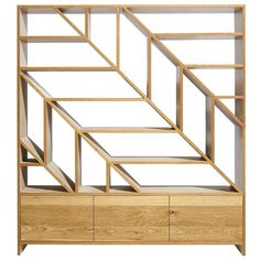 Leaf White Oak Room Divider and Display Shelving in Natural and Bone White