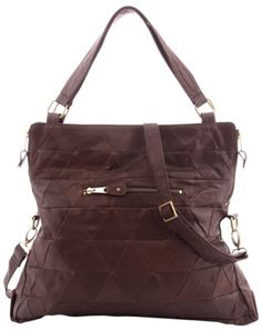 Upcycled leather - Sabine triangle bag in Chocolate