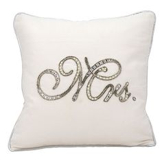 Women's Mina Victory Embellished Wedding Pillow (58290 IQD) ❤ liked on Polyvore featuring home, home decor, throw pillows, mrs, beaded throw pillows and embellished throw pillows