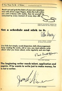 Writing Advice from authors in 1961 Source:...