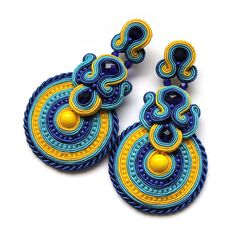 Statement earrings soutache colorful handmade embroidery blue turquoise yellow satin strips TOHO oaak gift for her