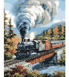 Steam Locomotive Paint by Number Kit by Plaid Bucilla