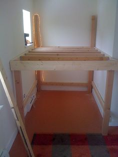 Built in loft bed. I love this idea for small unusable spaces!!