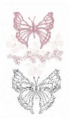Crochet Butterfly Patterns. ~  ♡ HOW PRETTY WOULD THIS BE OUTLINED IN GLITTER ON A T-SHIRT OR PURSE, or ALL OVER A SKIRT LIKE THE PATTERN ON THE MATERIAL?!