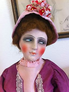 RARE-Vintage-Antique-Beautiful-French-Boudoir-Bed-Doll-Beautiful