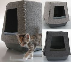 If you love wool felt, you'll love these cat shelters from Molitli Felt Cat Accessories.