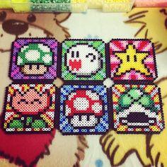 Mario coasters perler beads by tamagotchi717