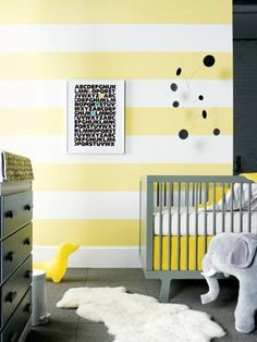 Yellow striped wall for the bathroom?