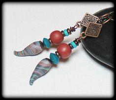 Arizona... Handmade Beaded Jewelry Earrings Polymer Clay Marbled Brown Terra…