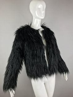 ViNtAgE 90s Shag Faux Fur Jacket Shaggy String by MothFoodVintage