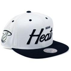 Miami Heat Mitchell & Ness White/Black Script 2 Tone Snapback Hat - Price: $25.99