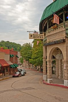 BASIN PARK HOTEL..Eureka Springs.  We stayed here and had dinner on the green canopied balcony.