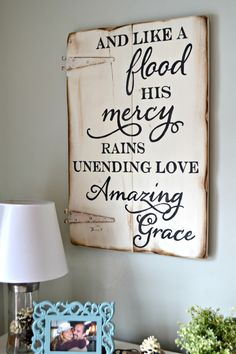 And like a flood His mercy rains, unending love, amazing grace || wood sign by Aimee Weaver Designs