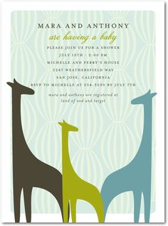 Mesmerizing Giraffes:Seafoam  [baby announcements/ shower invite]