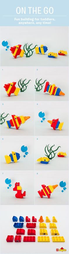 Find out how to build these amazing seahorses, swordfish, whales and more. . all with 20 LEGO DUPLO bricks or less! http://www.lego.com/en-us/family/articles/on-the-go-deep-sea-safari-9fc5bf100d8849db8237537717600a63