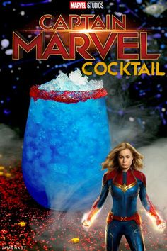 Captain Marvel Cocktail is out of this world and perfect for Carol Danvers fans looking for a tasty alcoholic drink. Cocktail Disney, Disney Cocktails, Disney Alcoholic Drinks, Bar Drinks, Cocktail Drinks, Cocktail Recipes, Beverages, Lemonade Cocktail, Cocktail Mix