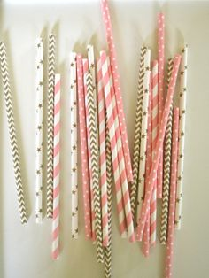 Ballerina Paper Straws // GOLD  PINK // Stripes, Stars and Dots // Princess party // Baby shower // Drinking Straws // Cake Pops on Etsy, $1.59