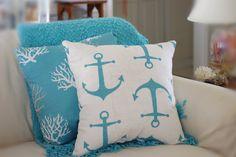Anchors Away Pillow  White Gray Aqua by ByTheSeashoreDecor on Etsy, $39.00