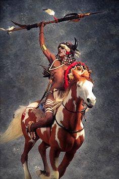 native american indians Portrait length color image of Mounted Lakota Warrior, by George Stuart. Native American Warrior, Native American Beauty, American Indian Art, Native American Tribes, Native American History, American Indians, Native American Paintings, Native American Pictures, Indian Paintings