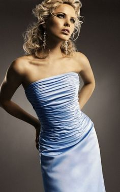 Superior Sheath Floor-length Strapless Light Sky Blue Satin Dress
