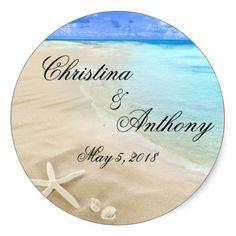 Shop Starfish Destination Beach Wedding Favors Labels created by PurplePaperInvites.