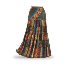 Patchwork Maxi Skirt ($60) ❤ liked on Polyvore featuring skirts, long boho skirts, bohemian skirt, long skirts, elastic waist skirt and multi colored maxi skirt
